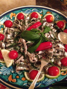 Marinated anchovies with chilli pepper