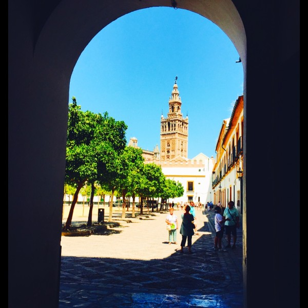 This is the view from the Jewish Quarter looking at the Cathedral of Seville