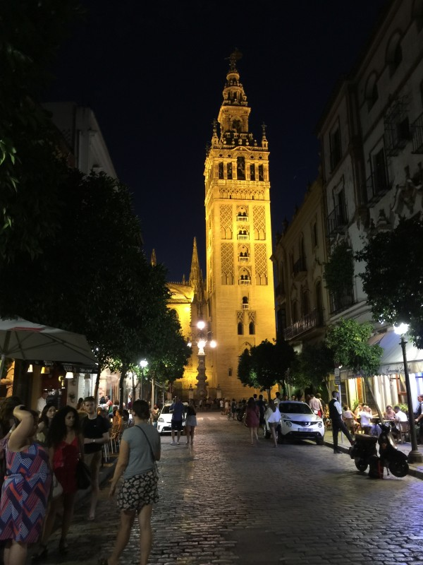 Seville's Cathedral at night